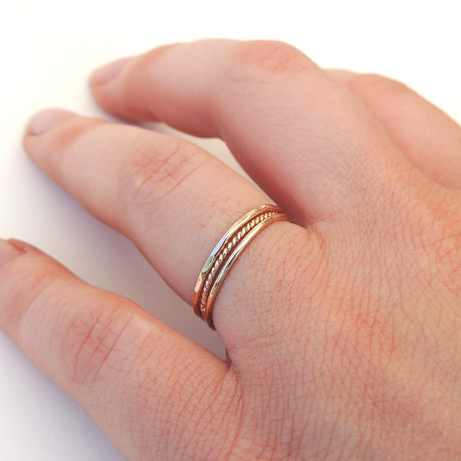 Amazon.com: Delicate Textured Stacking Rings Set of 3, Sterling ...