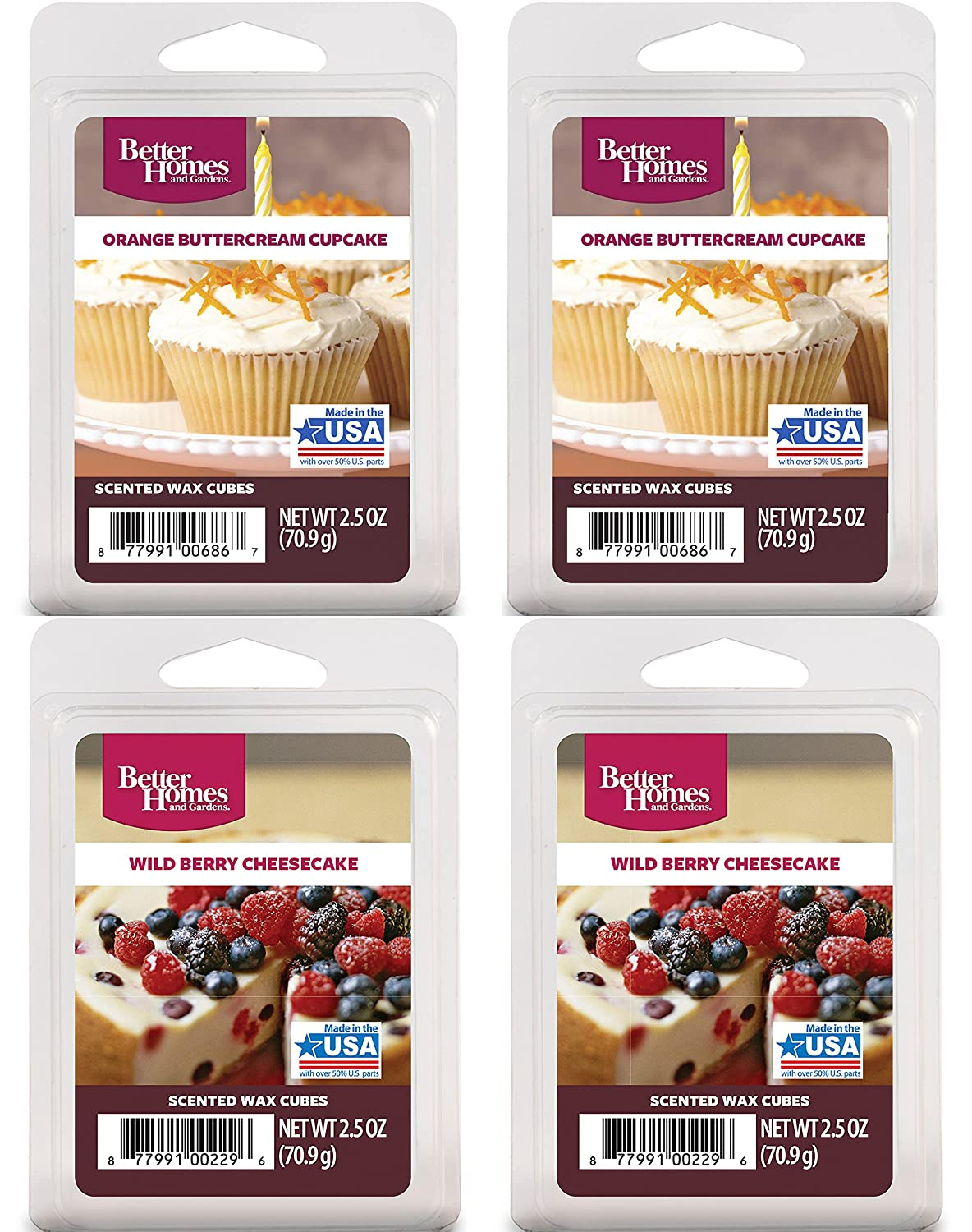Better Homes and Gardens Multi Pack Scented Wax - Orange Buttercream Cupcake(2) Wild Berry Cheesecake(2)