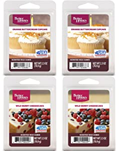 Better Homes and Gardens Multi Pack Scented Wax - Orange Buttercream Cupcake(2) Wild Berry Cheesecake(2)