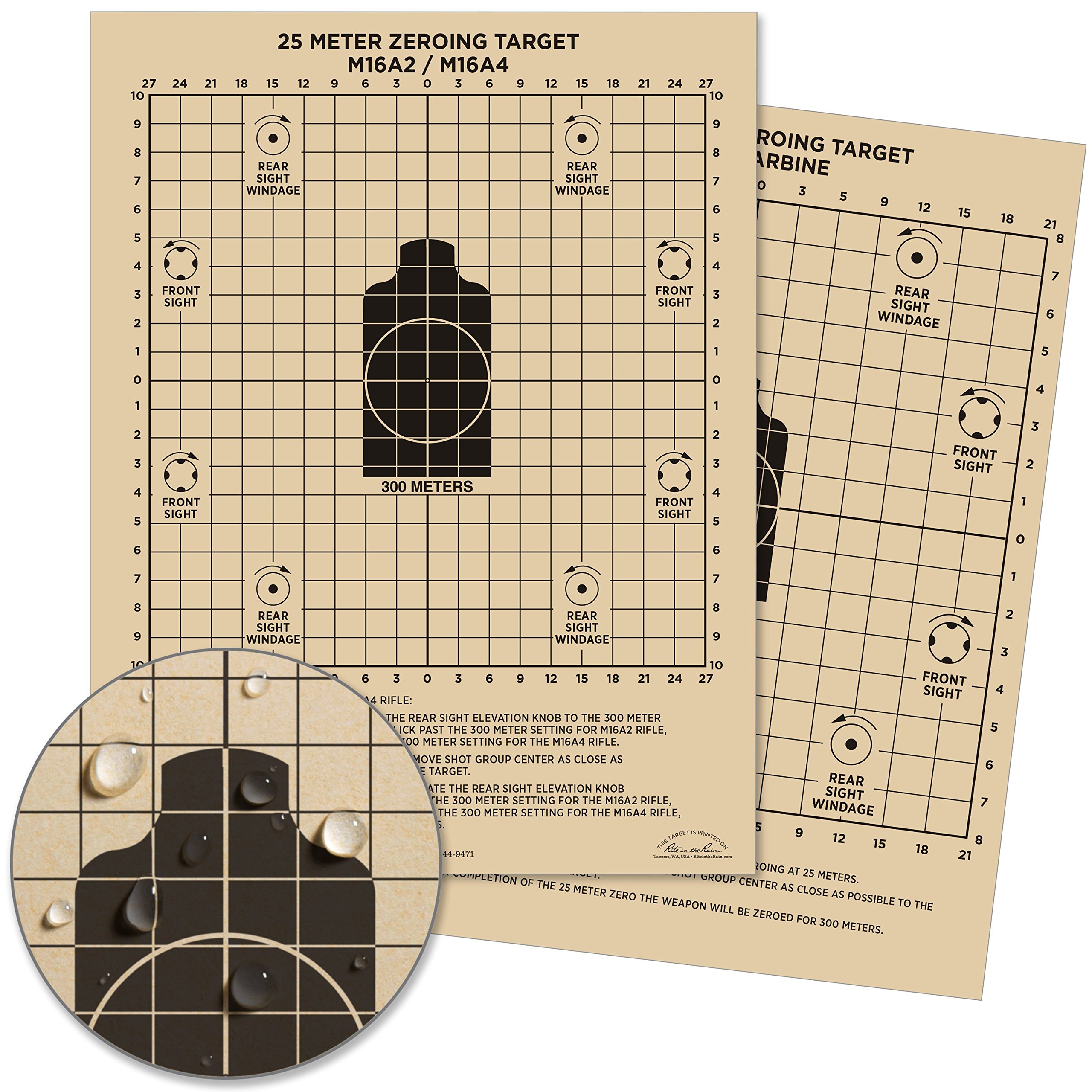 Rite in the Rain Weatherproof 25 Meter Target, 8 1/2'' x 11'', Tan, M16A2 / M16A4 Front, M4 CARBINE Back, 100 Sheet Pack (No. 9125)