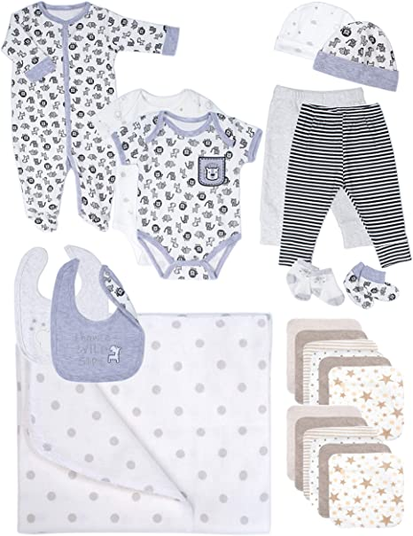 Baby Essentials 24 Piece Boy or Girl Unisex Layette Newborn Registry Gift Set