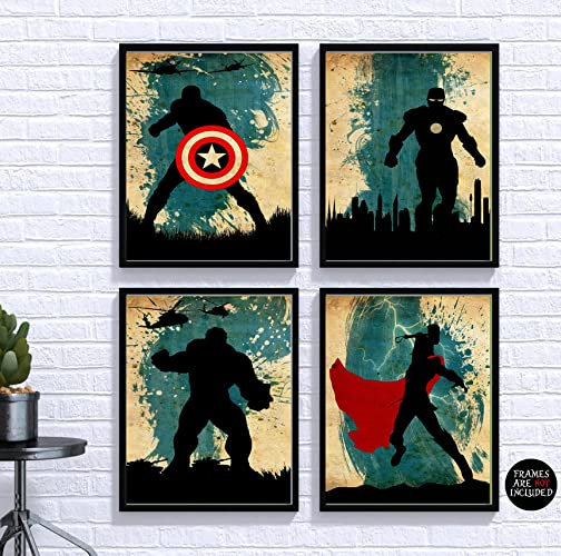 Avengers Poster Set 4 Vintage Poster Marvel Movie Print Minimalist Avengers  Poster Artwork Wall Art Home