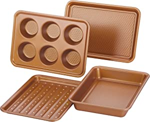 Ayesha Curry Nonstick Bakeware Toaster Oven Set with Nonstick Baking Pan, Cookie Sheet / Baking Sheet and Muffin Pan / Cupcake Pan - 4 Piece, Copper Brown