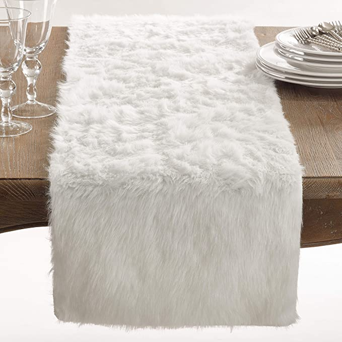 Home Kitchen Table Runners 15x72 15x72 Fennco Styles Cominhkpr88140 Juneau Faux Fur Table Runner