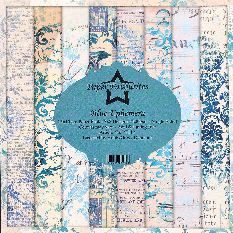 Dixi Craft Paper Favourites Blue Ephemera 15cm x 15cm Paper Pad