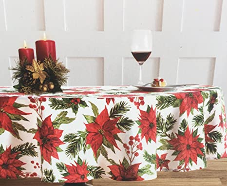 Amazon.com: Nicole Miller Holiday Poinsettia Tablecloth, 60 By 102 Inch  Oblong Rectangular: Home U0026 Kitchen