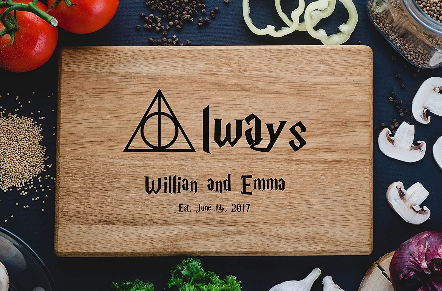 Always Custom Personalized Engraved Cutting Board family monogram Wedding Gift Anniversary Gifts, Housewarming Gift Birthday Gift Corporate Gift, Award harry06