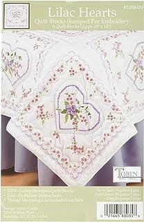 """Tobin T288096 Stamped White Quilt Blocks 18/""""X18/"""" 6//Pkg-Pink Fan Floral"""