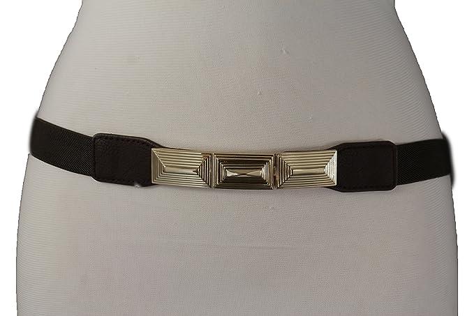 Women Fashion Belt Hip Waist Brown Elastic Band Gold Metal Braided Buckle S M