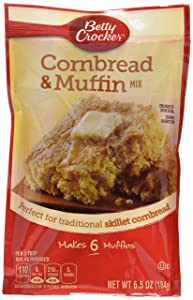 Betty Crocker, Muffin Mix, Authenic Cornbread & Muffin Mix, 6.5-Ounce Pouches (Pack of 6)