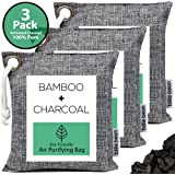 BILLIE BEAN Bamboo Charcoal Air Purifying Bag (3 Pack, 200g each) - Natural Fresh Air with Our Activated Charcoal Bags Odor Absorber - Odor Eliminator and Air Freshener for Home, Car, Pets, Gym Bag