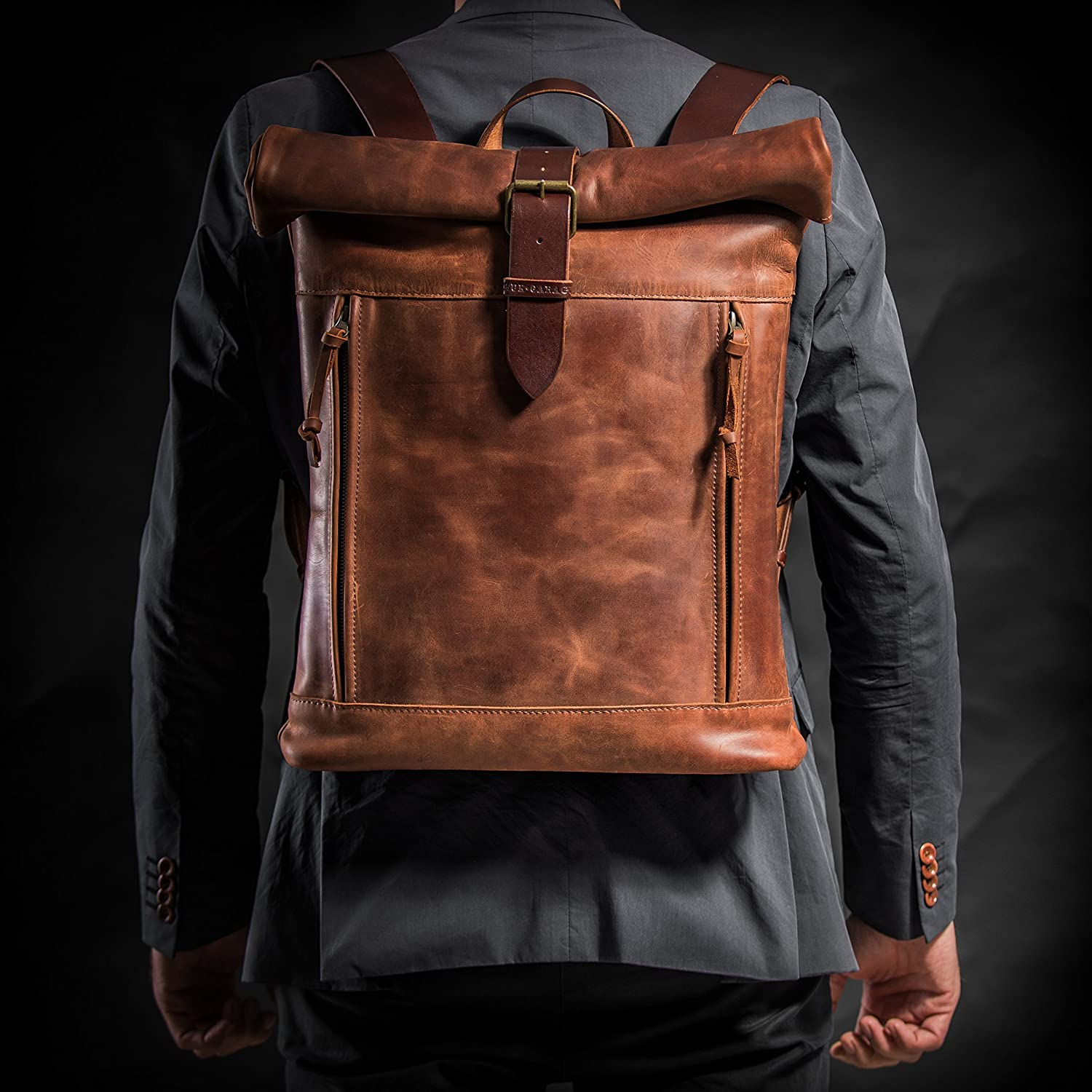 e7a95db45e81 ... Leather backpack Roll top backpack by Kruk Garage Cognac brown leather  backpack Mens backpack Leather rucksack ...