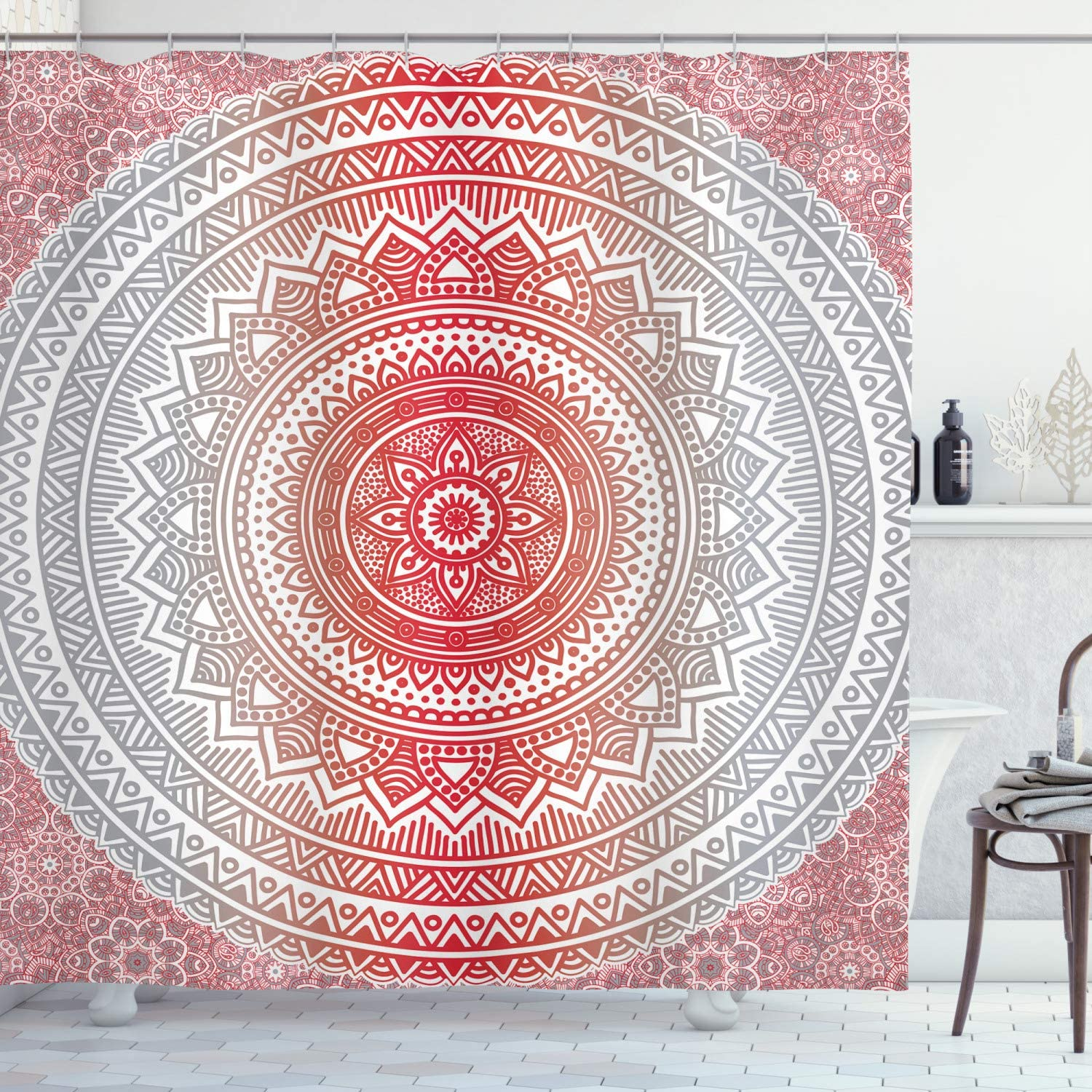 Fabric Bathroom Decor Set with Hooks 70 Inches Vermilion Grey Ambesonne Grey and Red Shower Curtain Hippie Ombre Mandala Cosmos Pattern with Flower Geometric Figures Indie Image