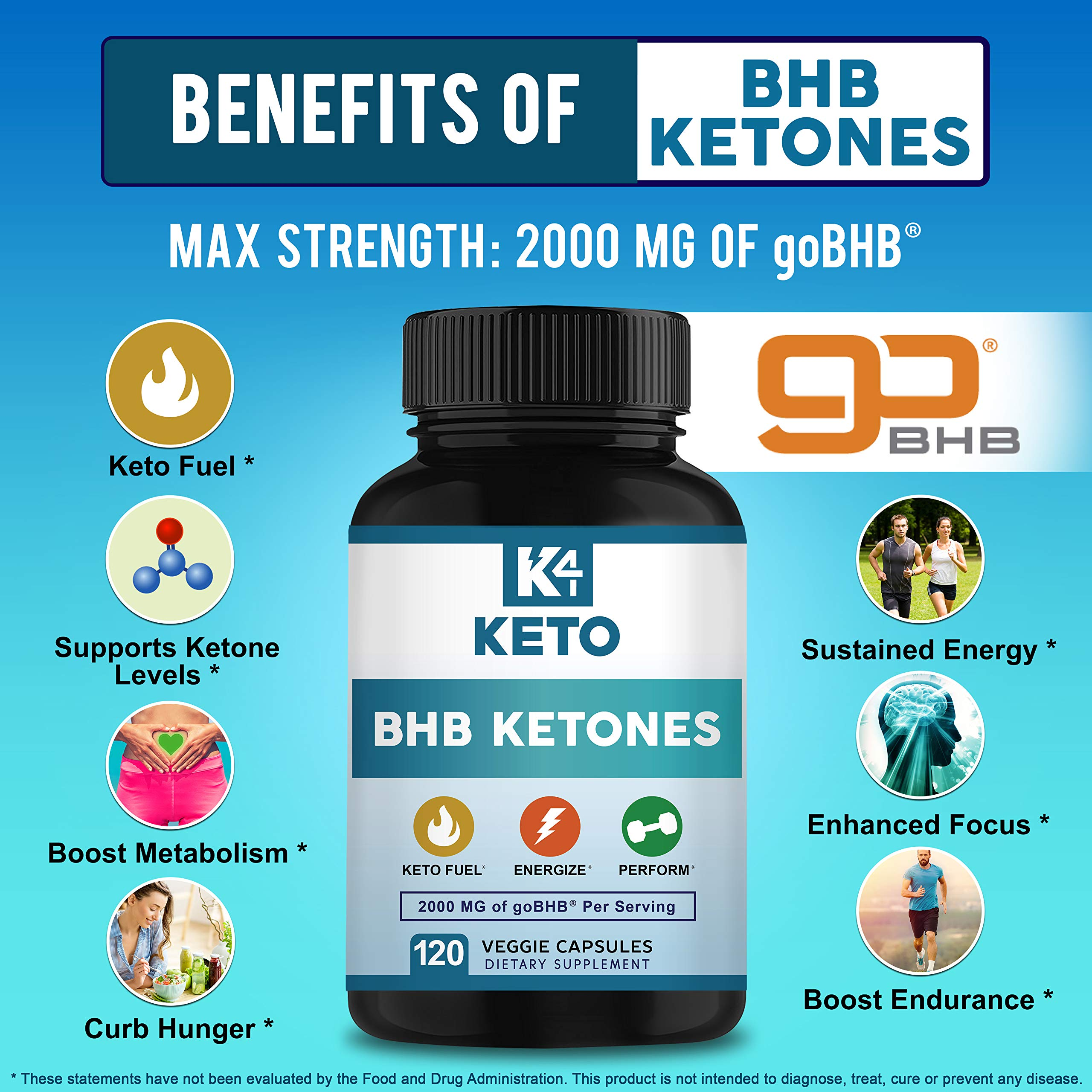 K4 Keto BHB - Exogenous Ketones BHB Salts Capsules - 2000mg of Patented goBHB Beta-Hydroxybutyrate - Ketone Supplement Pills to Support Ketogenic Diet & Ketosis by K4 Keto (Image #2)