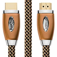 4k Hdmi Cable 3 ft - Premium Gold Braided Hdmi Cord 2.0 Heavy Duty (4k @ 60hz 18 Gbps) 24k Gold Connectors - Supports HDR 2160x4096p - Lifetime Warranty