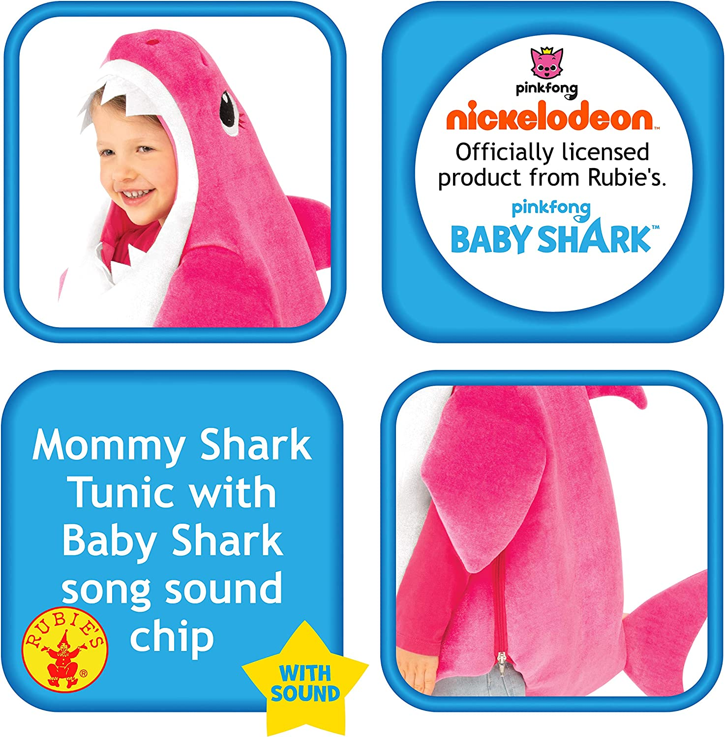 Baby Shark Child's Costume Singing Mommy Halloween Small PINK w// Candy Treat Bag