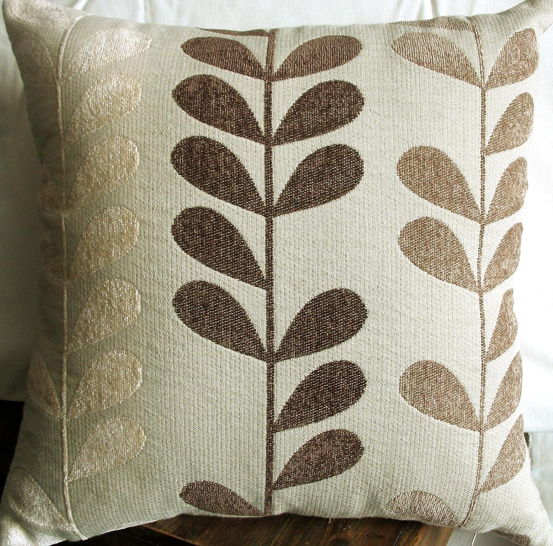 Amazon.com: Elleweideco Red / Chocolate Leaf Chenille Throw Pillow ...