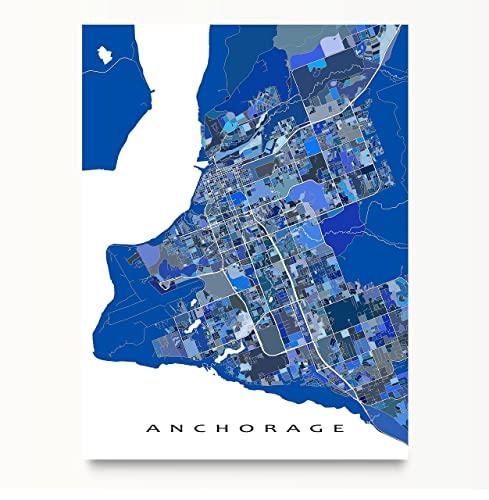 Amazoncom Anchorage Map Print Alaska USA City Street Art Blue - Alaska usa map