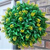 Best Artificial (TM) 30cm Yellow Lavender Flower Ball Lush Long Leaf Topiary Grass **UV Fade Protected**