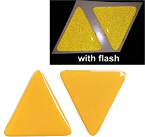 Yellow Tri Angle Reflective Domed Decals Triangle Safety Reflector Night Gloss 3D Gel Rear Resin Motorcycle Sticker Badge Reflector Bike Bicycle Car Helmet Trunk Tailgate Mobile Phone Laptop Notebook