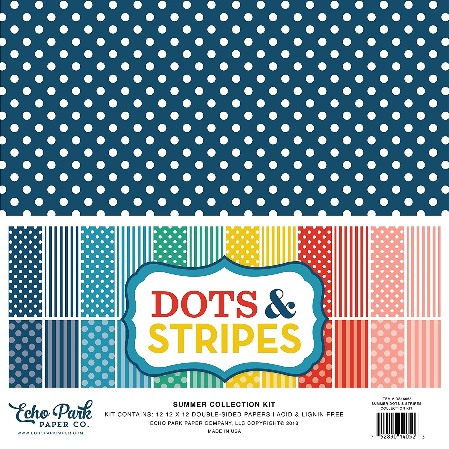 Echo Park Paper Company Summer Dots /& Stripes Collection Kit