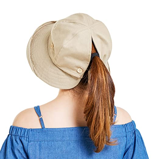 0a82790d803 Womens Reversible Sun Hat Visor Uv Protection Wide Brim Floppy Packable  Ponytail Summer Outdoor Beach Bucket