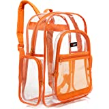 MGgear Clear School Backpack with Orange Trim, Transparent PVC Book Bag