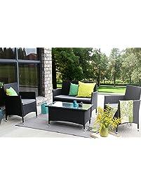Baner Garden (N68) 4 Pieces Outdoor Furniture Complete Patio Wicker Rattan  Garden Set,