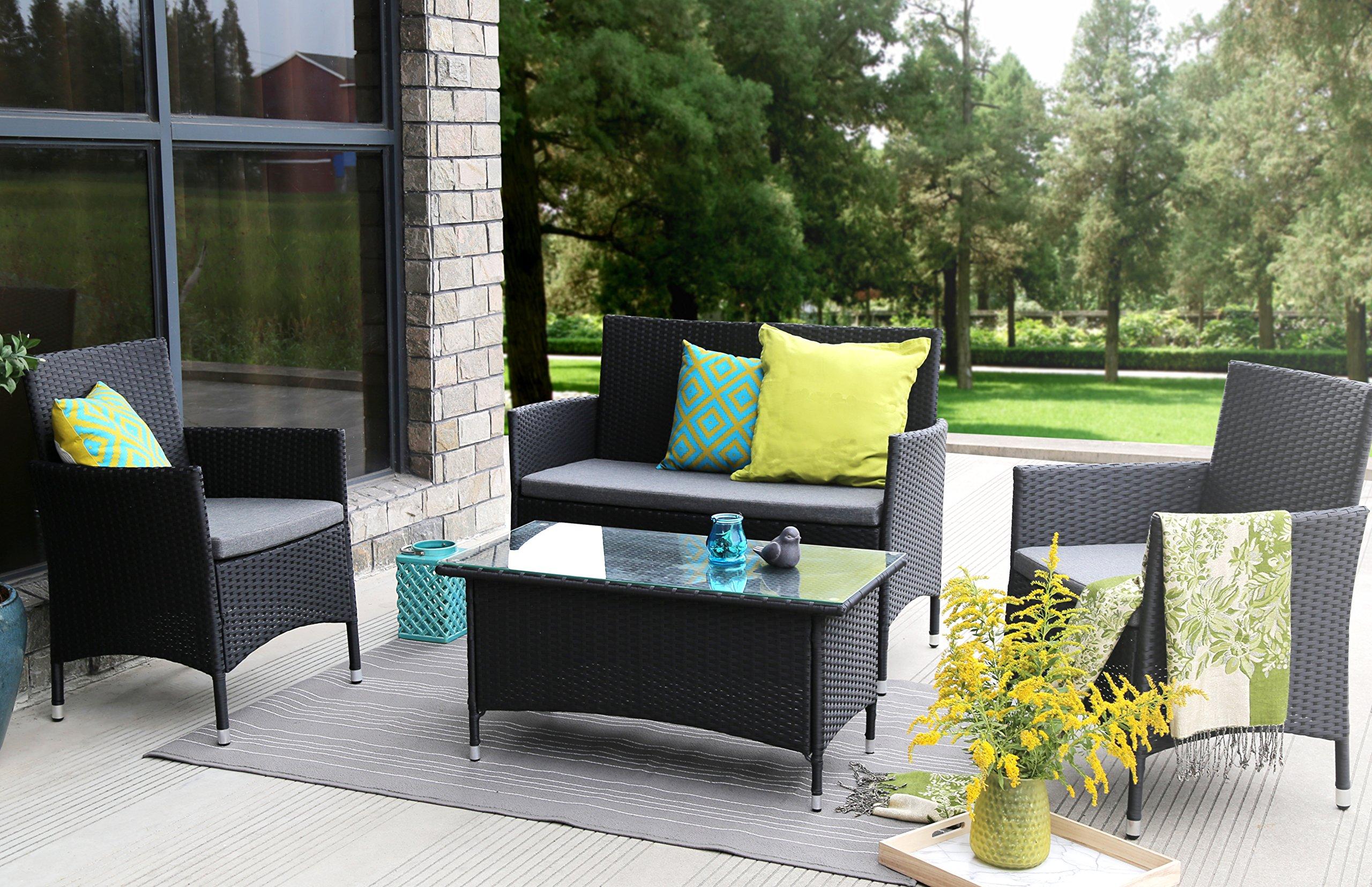 Baner Garden (N68) 4 Pieces Outdoor Furniture Complete Patio Wicker Rattan Garden Set, Full, Black