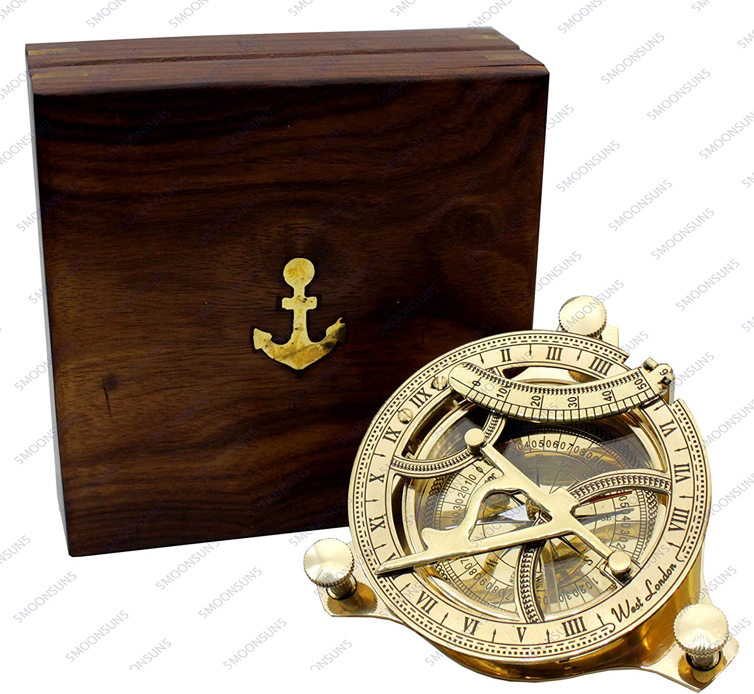 5MoonSun5's Nautical West London Sundial Compass 4'' inches With HandCrafted Rosewood Anchor Inlaid Case Maritime Decor Gifts steampunk collectibles