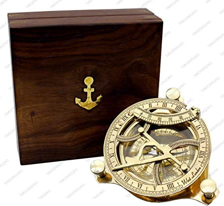 Reproduction Brass Pocket Sundial Navigation Nautical Marine Wooden Box 4/""