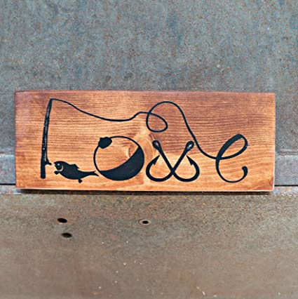 Amazon Com Rfy9u7 Fishing Love Wood Signs Rustic Sign Love