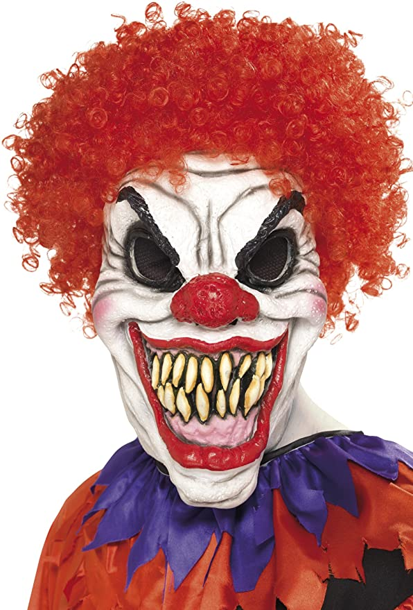 Amazon.com: Smiffy\'s Men\'s Scary Clown Mask, White & Red, One Size ...