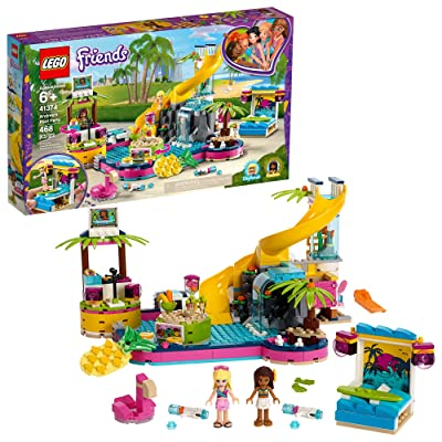LEGO Friends Andrea's Pool Party 41374 Toy Pool Building Set with Andrea and Stephanie Mini Dolls for Pretend Play, Includes Toy Juice Bar and Wave Machine (468 Pieces): Toys & Games