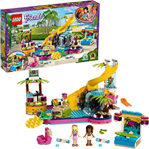 LEGO Friends Andrea's Pool Party 41374 Toy Pool Building Set with Andrea and Stephanie Mini Dolls for Pretend Play, Includes Toy Juice Bar and Wave Machine (468 Pieces)