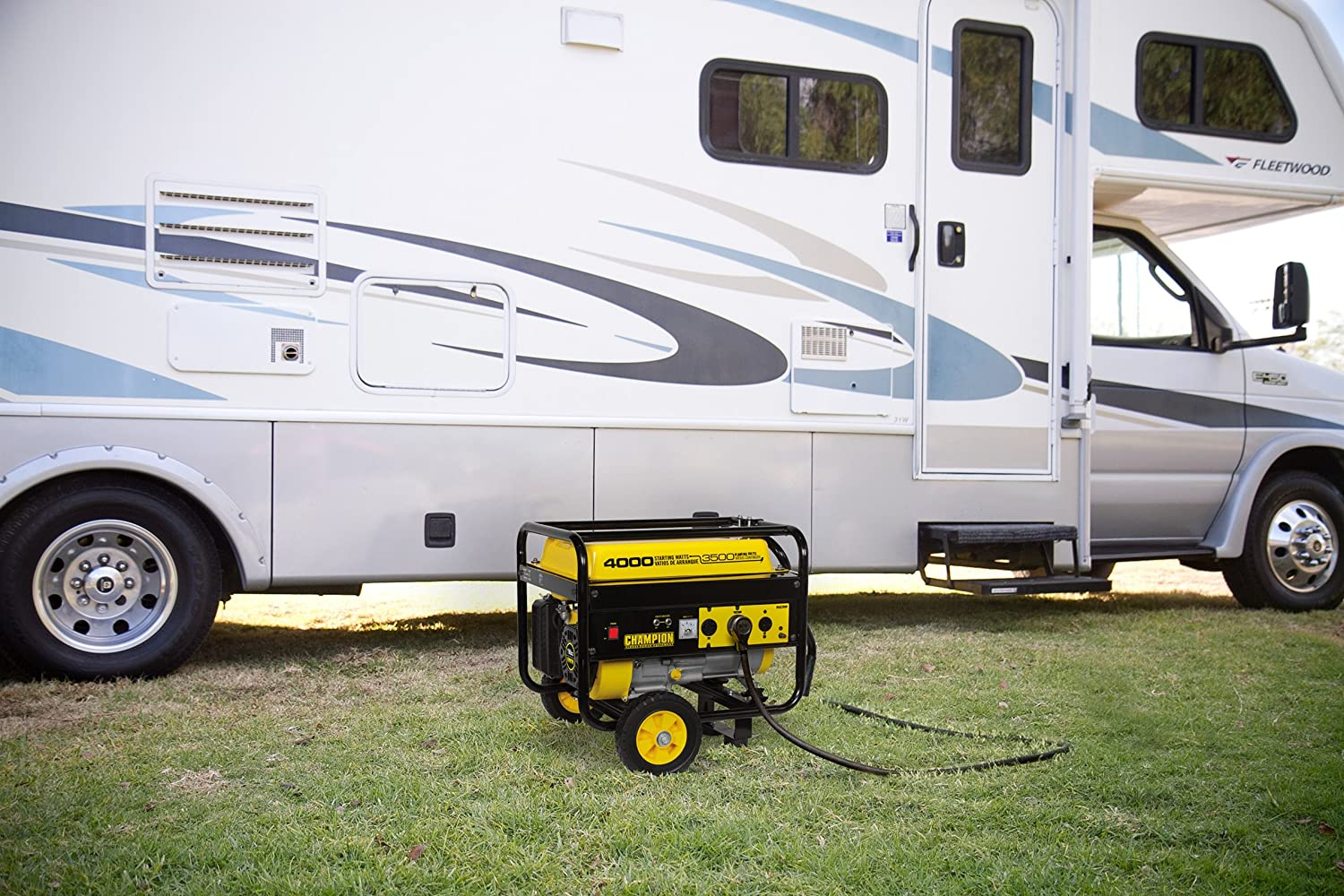 Camping generator in front of RV