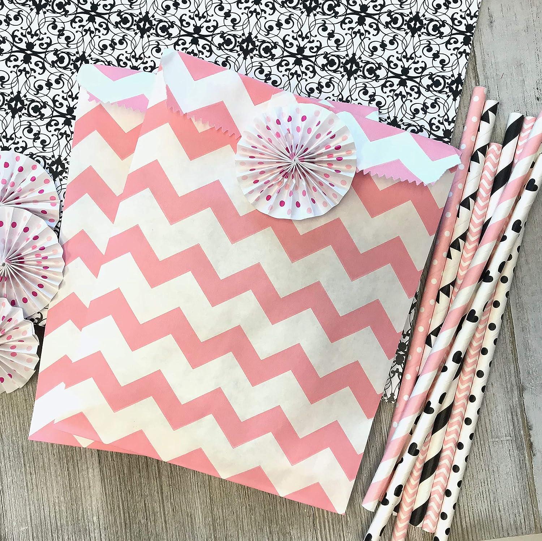 Amazon.com: Rubor rosa y blanco papel para golosinas sacos ...