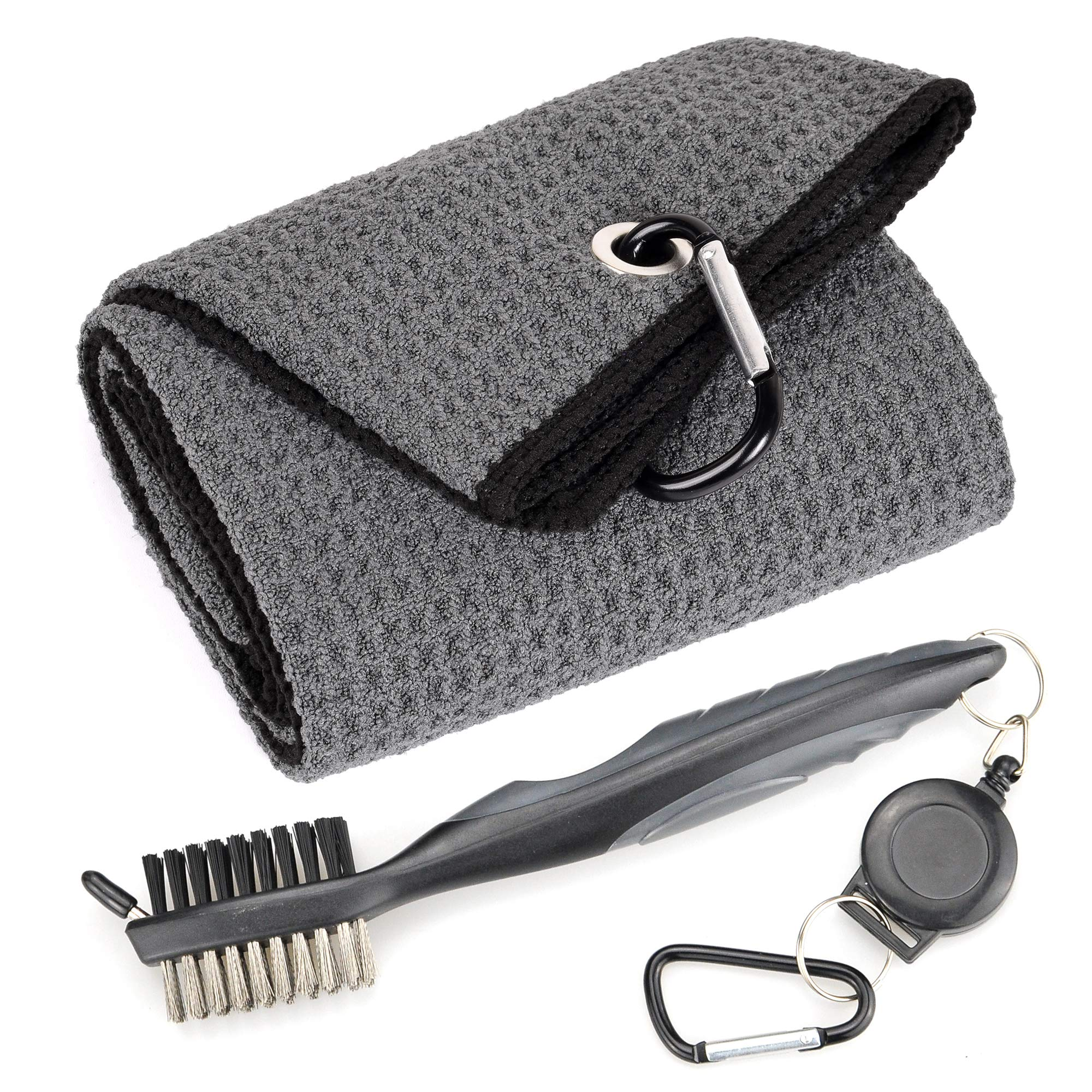 Mile High Life Microfiber Waffle Pattern Tri-fold Golf Towel | Brush Tool Kit with Club Groove Cleaner, Retractable Extension Cord and Clip (Dark Gray Towel+Gray Brush) by Mile High Life