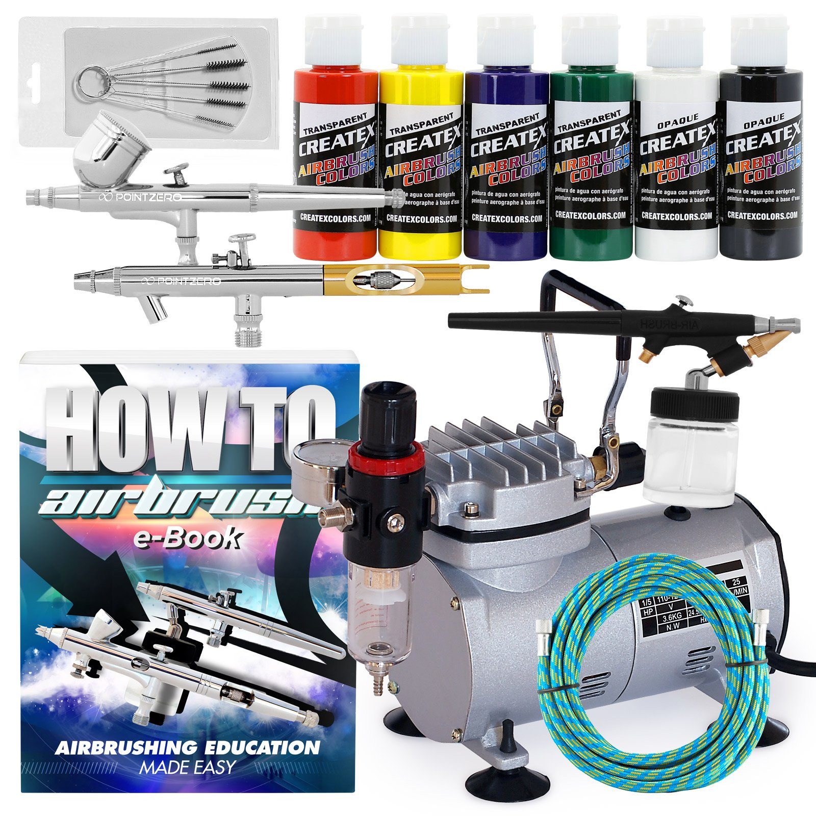 PointZero Multi-Purpose 3 Airbrush Kit w/Compressor and Createx Colors Set of 6 Paints by PointZero Airbrush