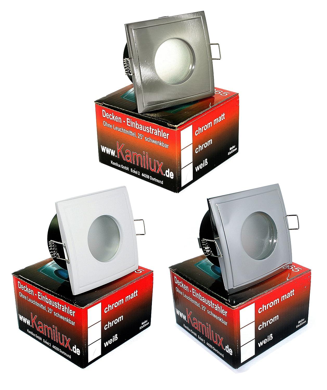 Aqua Square LED Feuchtraum IP65 Bad Badezimmerstrahler, Geringe  Einbautiefe, NUR 6cm, Dusche, 230V, 5 Watt Power LED Leuchtmittel In  Warmweiss Inklusive: ...