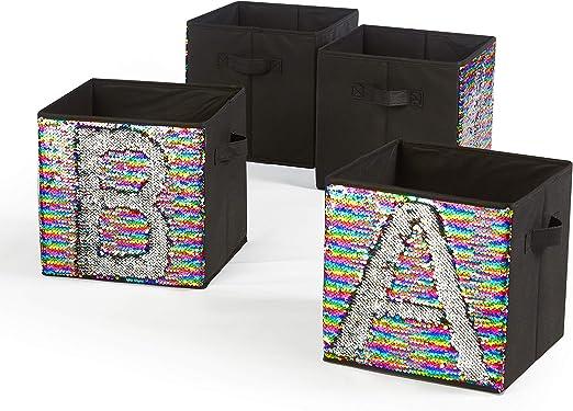 Rainbow Mainstays Sequin Collapsible Storage Bin