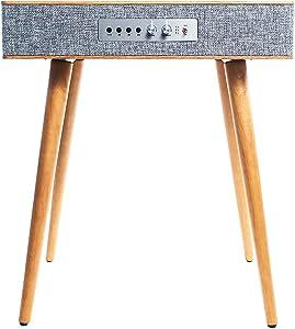Sierra Modern Home Classic Speaker Table with Built in Wireless Charging, Walnut