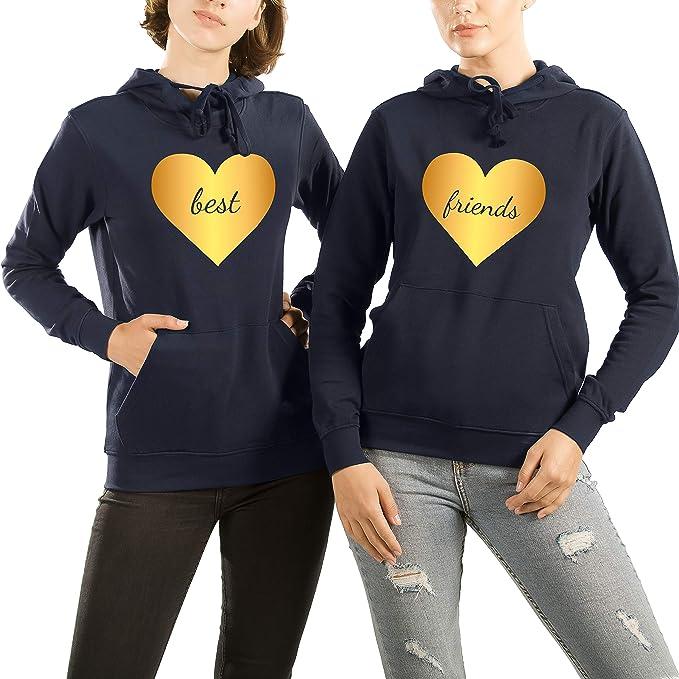 VivaMake 2 Sudaderas Mujer de Mejores Amigas por Set con Diseño Best Friends en el Corazón: Amazon.es: Ropa y accesorios