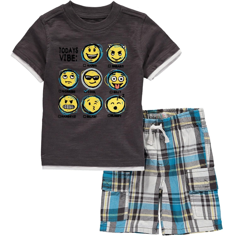 Kids Headquarters Little Boys 2 Pieces Tee Short Set 2T Grey Emoji