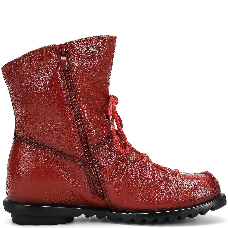 SAGUARO Damen Winter Stiefeletten Wasserdicht Weiches Leder Stiefel Damenstiefel Outdoor Leisure Winterstiefel Vintage Schuhe, Schwarz 34