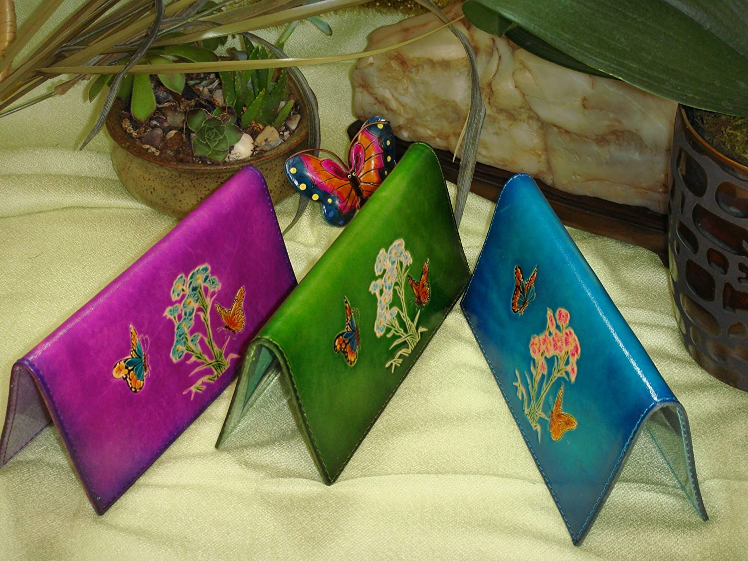 Flower Cited Butterflies Pattern More Color Choice. Genuine Leather Checkbook Cover