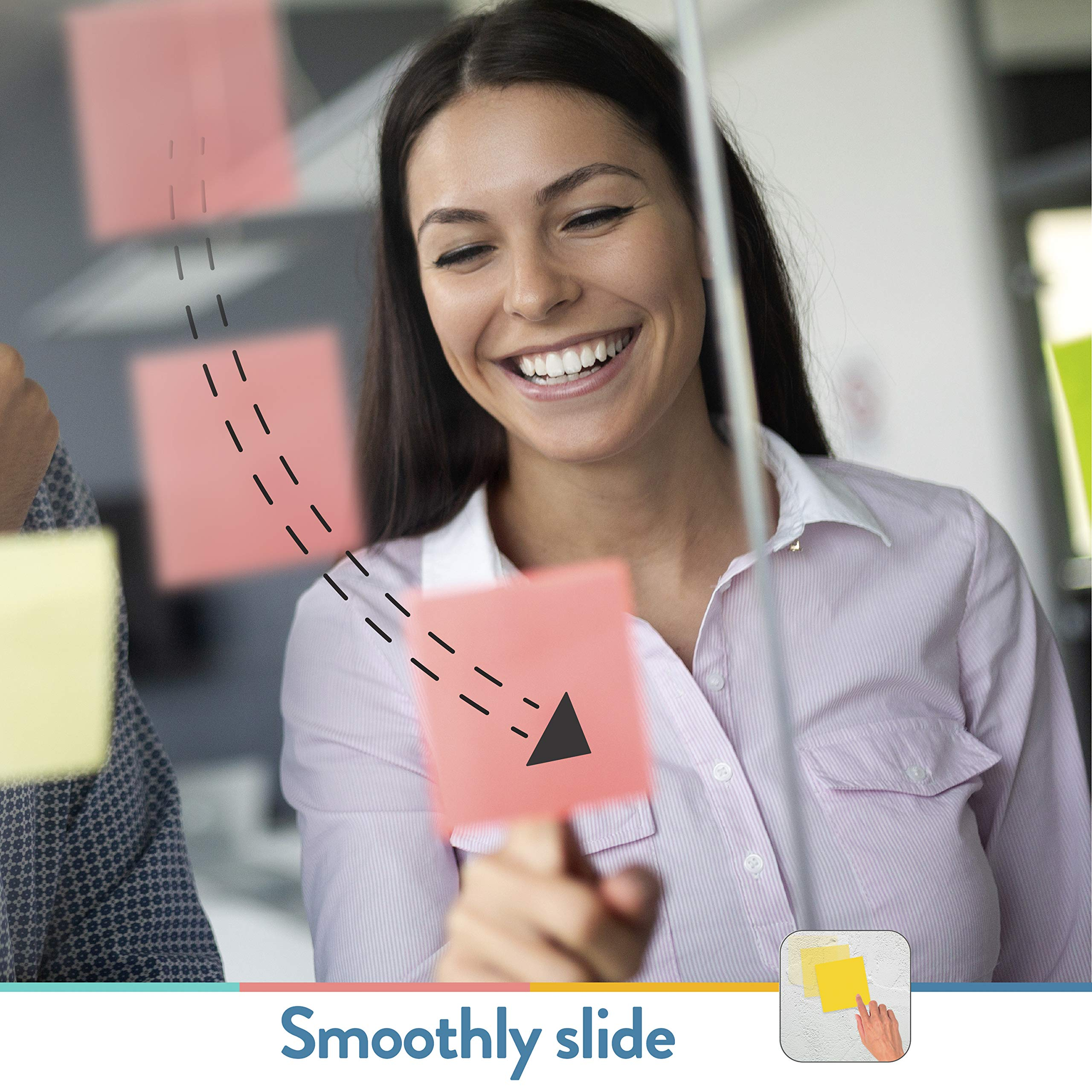 SlickyNotes Reusable Double Sided Notes: 3x3 Inch Glue Free, Static Charged, Dry Erasable, Slideable, Eco-Friendly Paper Pads in 6, 12, and 24 Pack
