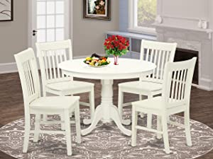 5 Piece Hartland Set With One Round 42in Dinette Table And 4 Dinette Chairs With Wood Seat In A warm Linen White Finish.