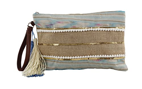 For Time Bolso de Mano étnico con Tiras y Rafia, Tela y de Playa para Mujer, Azul, 1 x 19 x 29 cm: Amazon.es: Zapatos y complementos