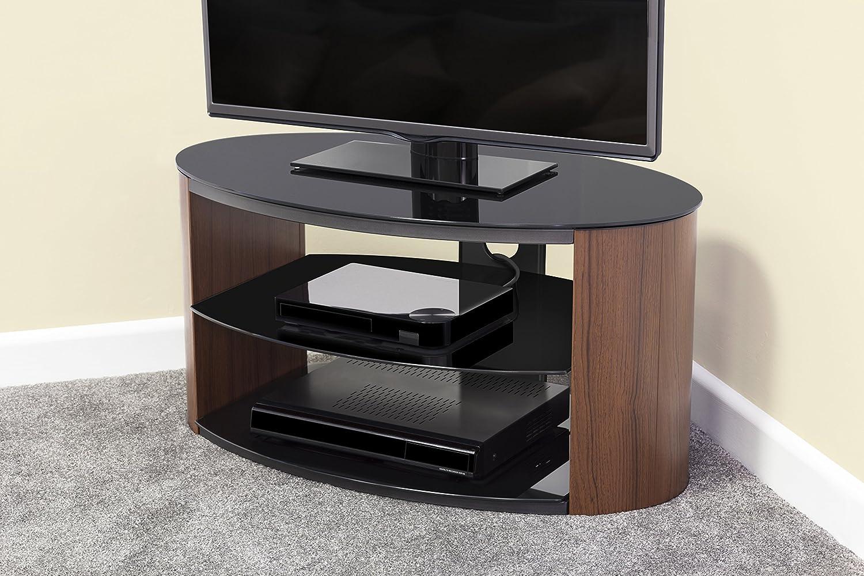 """per TV fino a 40/"""" con piano superiore e ripiani in vetro nero Mobiletto per TV ovale a effetto noce"""